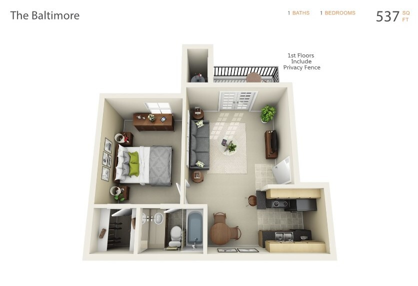 Baltimore Floorplan at The Pointe at City Center